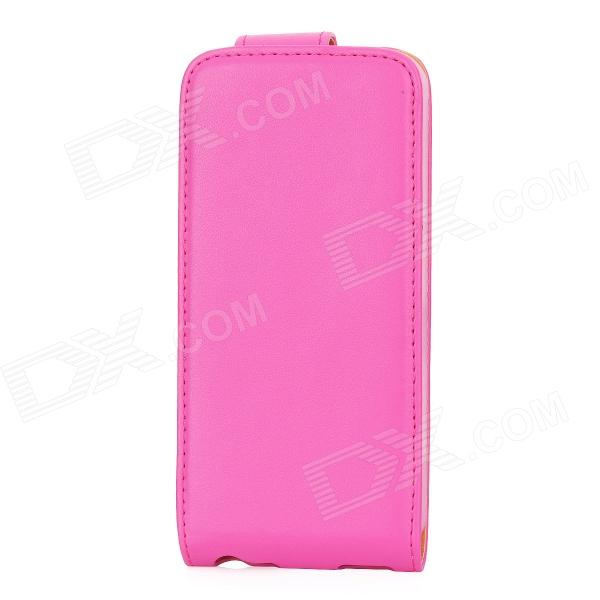 Protective PU Leather Top Flip Open Case Cover w/ Mirror for Iphone 5 - Deep Pink