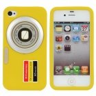Camera Pattern Protective Silicone Back Case for iPhone 4S / 4 - Yellow
