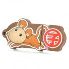 Rat of Chinese Zodiac Style USB 2.0 Flash Drive - Dark Goldenrod + Red (8GB)