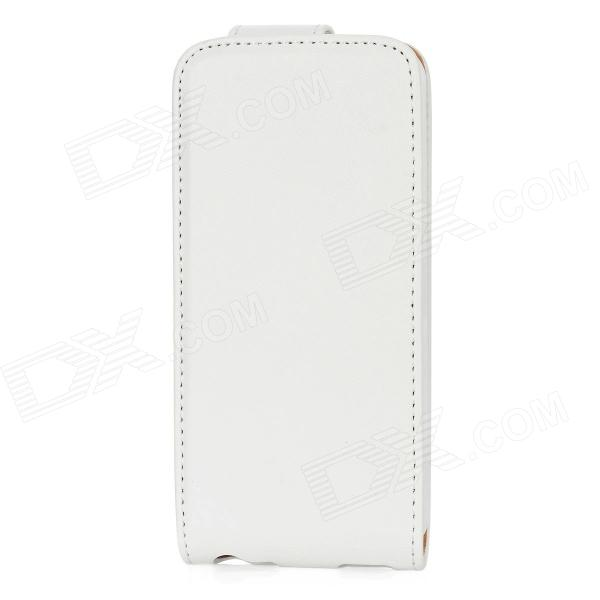 Protective PU Leather Top Flip Open Case Cover w/ Mirror for Iphone 5 - White