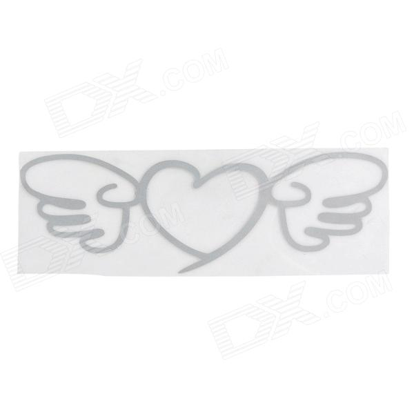 Angel Wing Heart Racing Motorcycle Reflective Sticker Decal - Silver White