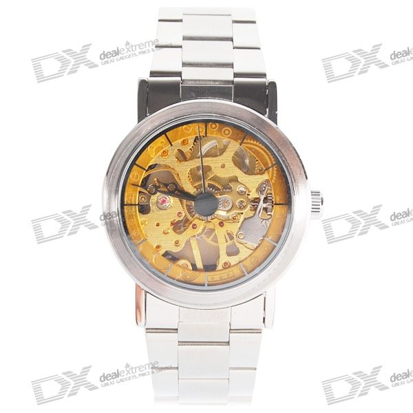 Stylish See-Thru Stainless Steel Semi-Automatic Mechanical Wristwatch