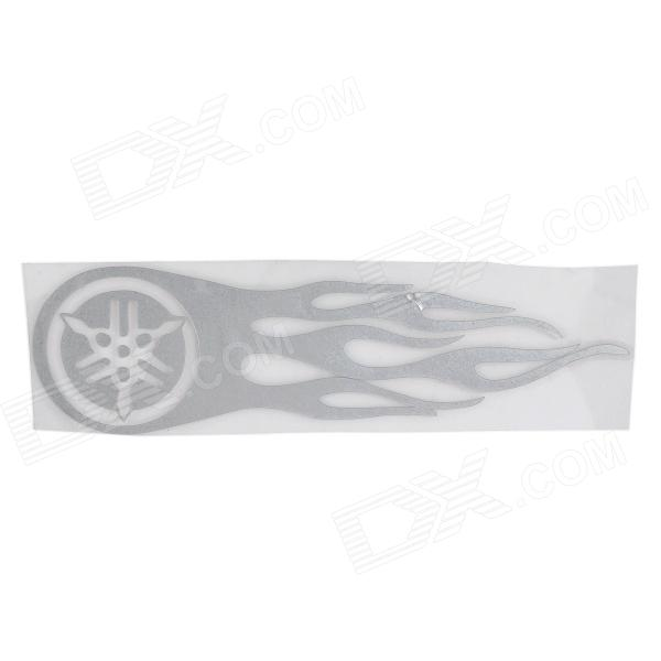 Hot Wheel Racing Motorcycle Reflective Sticker Decal - Silver White