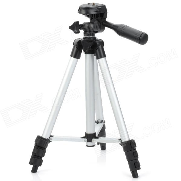 Mini 4-Section Retractable Folding Tripod with Quick Release Plate / Gradienter for DSRL / DV