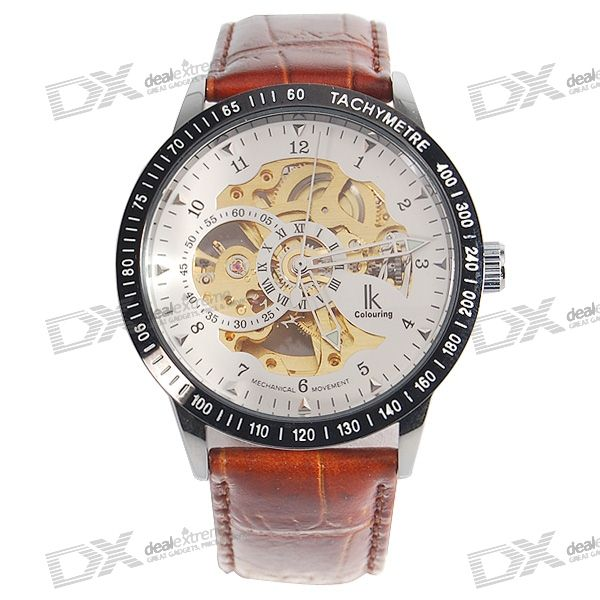 Leather Band Self-Winding Mechanical Wrist Watch - Brown