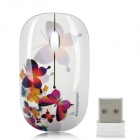 Newmen MS-278IR Butterfly Pattern 2.4GHz 1000CPI Wireless Optical Mouse - White (1 x AA)