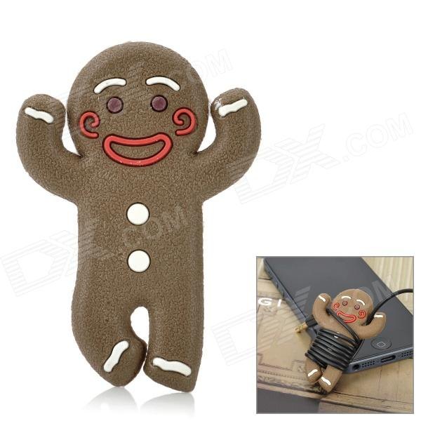 JD-1106 Cute Biscuit Baby Style ABS + Rubber Earphone Cable Winder - Coffee