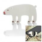 JD-1206 Cute Bear ABS + Rubber Earphone Cable Winder - White
