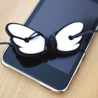 JD-1108 Cute Angel Wings ABS + Rubber Earphone Cable Winder - Black + White