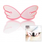 JD-1108 Cute Angel Wings ABS + Rubber Earphone Cable Winder - Pink + White