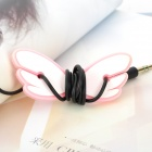 JD-1108 Cute Angel Wings ABS + Rubber Auricular Cable Winder - Pink + White