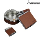 iwoo T716 Creative Cigarette Smoking Lighter + Ashtray + Case + Keychain Kit - Brown + Silver