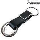 iwoo 040 Simple Cow Leather Quick-Release Keychain - Black + Silver