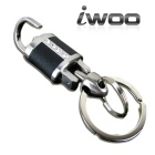 iwoo 020 Rhinestone Genuine Leather Quick-Release Keychain - Black + Silver