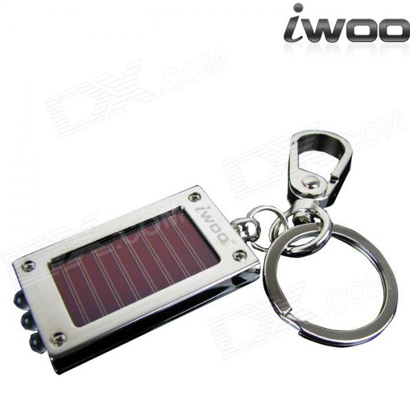 iwoo 019A Classic Solar Powered 3-LED White Flashlight Keychain - Silver