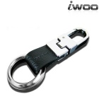iwoo 014 Tin Alloy Genuine Leather Quick-Release Keychain - Silver + Black