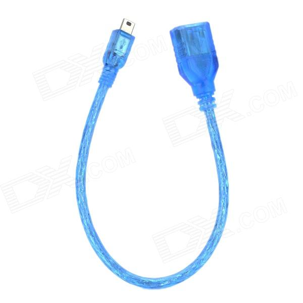 USB Female to Mini USB Male Data Transmission Cable - Blue (21cm)