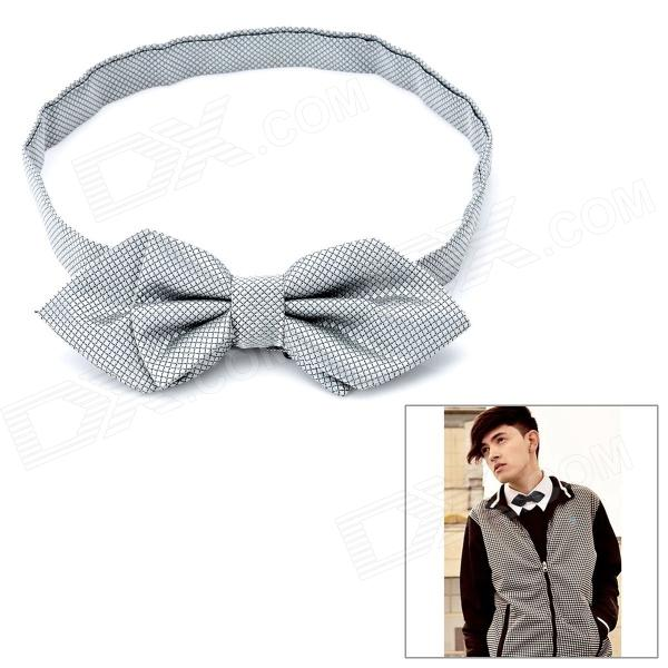 Grid Pattern Angle Spinning Bow Tie Necktie - Grey