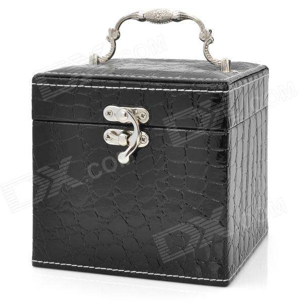 Alligator Pattern PU Leather 3-Layer Cosmetic / Jewelry Storage Box w/ Mirror - Black flower pattern foldable cosmetic storage box blue white