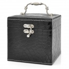 Alligator Pattern PU Leather 3-Layer Cosmetic / Jewelry Storage Box w/ Mirror - Black 