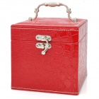 Alligator Pattern PU Leather 3-Layer Cosmetic / Jewelry Storage Box w/ Mirror - Red