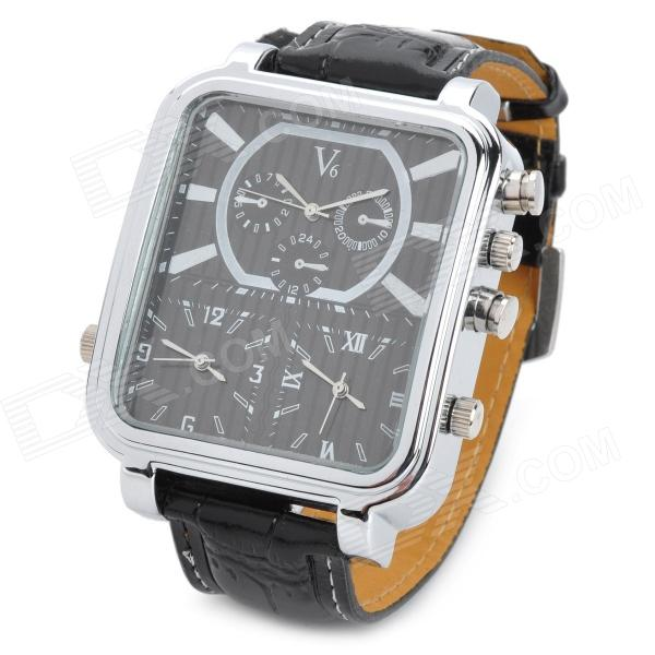 Fashion Man's PU Band Three-Time Display Quartz Analog Waterproof Wrist Watch - Black (1 x 377) s012 stylish shiny crystal inlaid leaf patterned analog quartz wrist watch w pu band 1 x 377