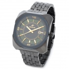 SPEATAK 9025G Stainless Steel Analog Quartz Wrist Watch w/ Calendar for Men - Black (1 x CR026)