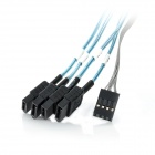 Amphenol MiniSAS SFF8087 36-Pin Male to 4-SATA 7-Pin Female Data Cable - Black + Blue (50cm)