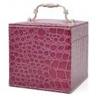 Alligator Pattern PU Leather 3-Layer Cosmetic Storage Box w/ Mirror - Purple