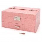 Alligator Pattern PU Leather 2-Layer Cosmetic / Jewelry Storage Box w/ Mirror - Pink