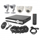 INS-4SYS164 4-CH 1/4 CMOS Linux OS Security Surveillance DVR w/ 4 Cameras Set - Black