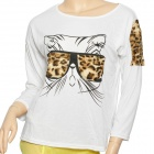 Cut Leopard Grain Glasses Kitten Pattern Woman's Cotton T-shirt - White