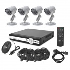 INS-4SYS160 4-CH 1/4 CMOS Linux OS Security Surveillance DVR w/ 4 Cameras Set - Black + Silver