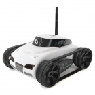 Iphone / Ipad Controlled 4-CH Wireless Spy Tank w/ 300KP Camera - White + Black (6 x AA)