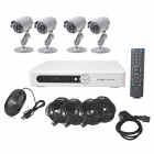 INS-4SYS147 4-CH 1/4 CMOS Linux OS Security Surveillance DVR w/ 4 Cameras Set - White + Silver
