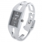 Fashion Woman's Zinc Alloy Band Quartz Analog Waterproof Bracelet Wrist Watch - Silver + Black