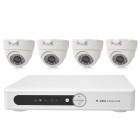 INS-4SYS162 4-CH 1/4 CMOS Linux OS Security Surveillance DVR w/ 4 Cameras Set - White