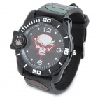 Outdoor Sports Skull Silicone Band Quartz Analog Wrist Watch - Camouflage Green + Black