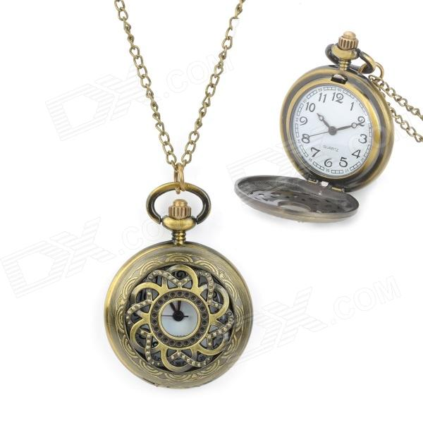 Retro Sunflower Zinc Alloy Quartz Digital Waterproof Pocket Watch - Bronze (1 x 377)