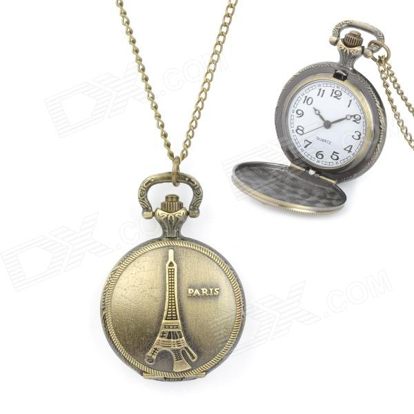 Retro Eiffel Tower Style Zinc Alloy Quartz Digital Waterproof Pocket Watch - Bronze (1 x 377)
