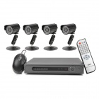 D-S158 4-CH Security Surveillance DVR w/ 4 CCTV Cameras Set - Black
