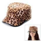 Leopard Grain Pattern Flat Top Rabbit Hair Hat - Brown
