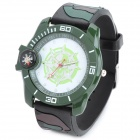Outdoor Sports Skull Silicone Band Quartz Analog Wrist Watch - Camouflage Green + White