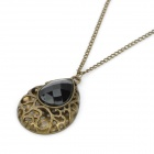 Retro Water-Drop Style Zinc Alloy Pendant Necklace - Black + Bronze