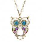 Retro Owl Style Zinc Alloy Pendant Necklace w/ Rhinestone - Bronze + Green