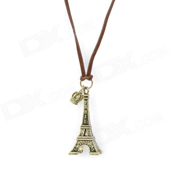 Retro Eiffel Tower Style Strap + Zinc Alloy Pendant Necklace - Bronze