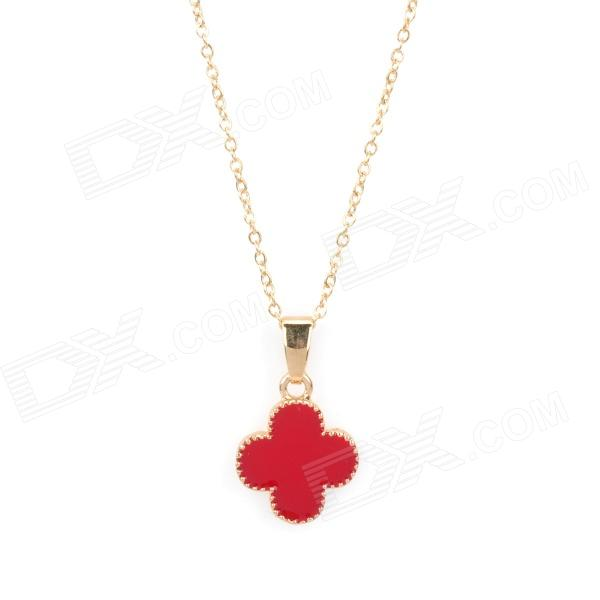 Clovers Shaped Iron Zinc Alloy Pendant Necklace - Red + Golden