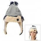 Cute Style Cotton + Polar Fleece Warmer Ear Hat for Boy - Grey