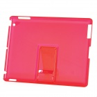 Ultra Thin Protective PC Back Cover Case with Stand for Ipad 2 / The New Ipad - Transparent Red