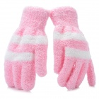Fashion Woman's Full Finger Plush Warm Gloves - Pink (Pair)